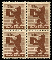 Lot 22770:1945 10pf brown with Broken shading line above bear's snout in block of 4, one non-varietal unit hinged.