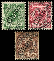 Lot 3809:1888 56° Overprint Mi #2II,3II,6II 5pf, 10pf & 50pf, Cat €29.