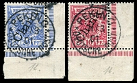 Lot 4012:1888 56° Overprint Mi #3II,4II 10pf & 20pf, Cat €30, in matching BRC marginal singles cancelled with 'PEKING/11/3/01/DEUTSCHE POST' (A1).
