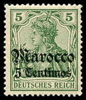Lot 21934:1905 'DEUTSCHES REICH' Issues No Wmk Mi #22 5c on 5pf green.
