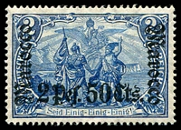 Lot 21936:1906-11 'DEUTSCHES REICH' Issues Wmk Lozenges Mi #44 2p50c on 2m blue, Cat €80.