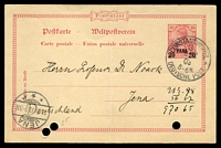 Lot 4019:1903 Germania HG #9 20pa (crossbar at top of A) on 10pf Germania, cancelled with 'CONSTANTINOPEL/3/8 12/03/5-6N/* DEUTSCHE POST. *' (B1), to Jena, Germany, filing holes and crease.