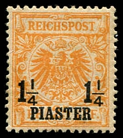 Lot 3529:1889 Mi #9 1¼pa on 25pf orange, Cat €30.