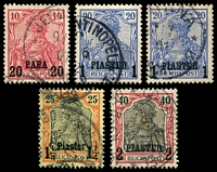Lot 3833:1900-04 Germania Mi #13I-15I,17I 20pa (used Jerusalem), 1pi x2 (shades), 1¼pi & 2pi, Cat €17. (5)