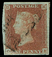 Lot 3842:1841 Line-Engraved on Blued Paper SG #8 1d red-brown [OH] 4-margins, Cat £30.