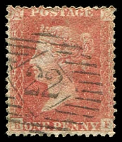 Lot 19585:1856-58 Letters in 2 Corners Wmk Large Crown Perf 14 SG #39 1d pale rose [BF], Cat £35, cancelled barred diamond '22' (A2).