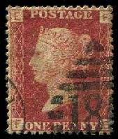Lot 3560:1858-79 Letters in Four Corners SG #43 1d rose-red plate 206 [FE], Cat £11.