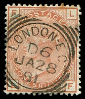 Lot 3661:1865-67 Large Coloured Letters SG #151 1/- orange-brown plate 13 [LF] wmk spray, couple of toned perfs, Cat £700.