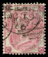 Lot 3849:1865-67 Large White Letters SG #92 3d rose plate 4 [CC], couple of trimmed perfs Cat £210.