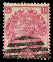 Lot 3566:1867-80 Large White Letters wmk Spray SG #103 3d rose, plate 5 [BG], Cat £60.