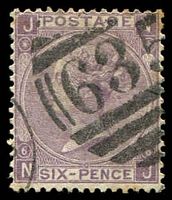 Lot 3850:1867-80 Large White Letters wmk Spray SG #104 6d lilac (with hyphen) [NJ], Cat £110.