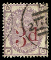 Lot 3851:1880-83 Large Coloured Letters wmk Imperial Crown SG #159 3d on 3d lilac [PD], Cat £145.