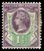 Lot 22683:1887-92 Jubilee SG #198 1½d dull purple & pale green, Cat £18, toned perf.