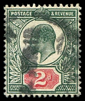 Lot 3570:1902-10 KEVII DLR Printing SG #226 2d grey-green & carmine-red, Cat £30.