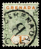 Lot 3614:1895-99 QV SG #55 1/- green & orange, Cat £65, cancelled with 'GRENADA/B/2[?]