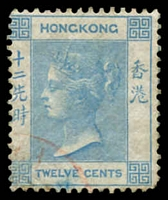 Lot 20194:1863-71 Wmk Crown/CC SG #12a 12c pale blue.