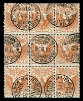 Lot 3716:1916 Red Cross SG #101 20c orange block of 9, Cat £68+.