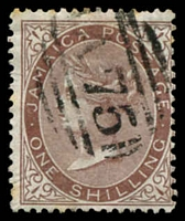 Lot 22167:1870-83 Wmk Crown/CC SG #13 1/- dull brown, cancelled with 'A