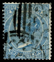 Lot 4144:1863-72 QV Wmk Crown/CC SG #69 1/- blue, Cat £28.