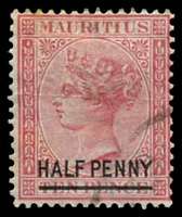 Lot 3933:1877 Overprints SG #79 ½d on 10d rose, fake cancel, Cat £50 as genuine cancel.