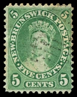 Lot 3969:1860 No Wmk Perf 12 SG #14 5c yellow-green, some toned perfs, Cat £18.