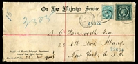 Lot 5937 [1 of 2]:1906 (Apr 24) use of 5d & ½d on registered cover from Postal and Electric Telegraph Department to USA.