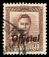 Lot 26553:1938-51 Optd 'Official': SG #O138 1½d purple-brown, Cat £24.