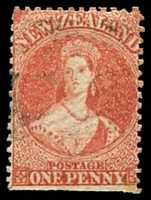 Lot 25496:1860-64 Chalon Wmk Large Star Perf 13 At Dunedin SG #68 1d orange vermilion, trimmed perfs at base, Cat £350.