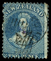 Lot 25497:1860-64 Chalon Wmk Large Star Perf 13 At Dunedin SG #72 2d blue, Cat £80.