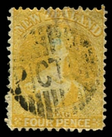 Lot 4218:1864-67 Chalon Wmk Large Star Perf 12½ At Auckland SG #120 4d yellow, Cat £120. Picton cancel.