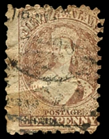 Lot 4219:1871-73 Chalon New Colours Wmk Large Star Perf 10 SG #126 1d brown (pale shade), faults, Cat £130.