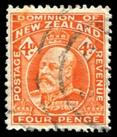 Lot 3992:1909-16 KEVII Wmk Single NZ/Star Perf 14 SG #396 4d orange, Cat £15.