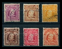 Lot 3991:1909-16 KEVII Wmk Single NZ/Star Perf 14x14½ SG #388-94 range, 2d, 3d, 4d yellow, 5d, 6d & 1/-, Cat £25.