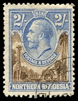 Lot 4270:1925-29 KGV SG #11 2/- brown & ultramarine, Cat £38.