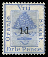 Lot 4143:1890-91 Surcharges SG #54 1d type a on 3d ultramarine.