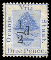 Lot 27010:1896 Surcharges SG #70 ½d type b on 3d ultramarine, Cat £14.