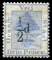 Lot 27011:1896 Surcharges SG #72 ½d type d on 3d ultramarine, Cat £13.