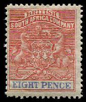Lot 27053:1892-94 Bi-Colour Arms Perf 14,14½ SG #24 8d red & ultramarine, Cat £17.