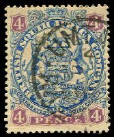 Lot 4081 [2 of 2]:1896-97 Scroll Behind Legs Die II SG #44,44a 4d ultramarine & mauve and 4d blue & mauve, Cat £13.50.