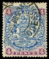Lot 4081 [1 of 2]:1896-97 Scroll Behind Legs Die II SG #44,44a 4d ultramarine & mauve and 4d blue & mauve, Cat £13.50.