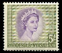 Lot 27560:1954-56 QEII SG #13 5/- violet & olive-green, Cat £26.