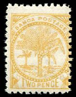 Lot 24961:1886-1900 Wmk NZ/Star (7mm) Perf 11 SG #59c 2d pale ochre.