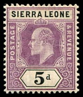 Lot 24217:1904-05 KEVII Wmk Mult Crown/CA SG #93 5d purple & black, gum lightly aged, Cat £14.