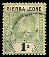Lot 24218:1904-05 KEVII Wmk Mult Crown/CA SG #95 1/- green & black.