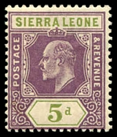 Lot 27968:1907-12 KEVII New Colours SG #106 5d purple & olive-green, Cat £24.