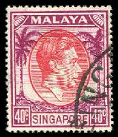 Lot 27999:1948-52 KGVI Defins Perf 17½x18 SG #26 40c red & purple, Cat £22.