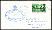 Lot 4628:Buala: blue double-oval 'BUALA POSTAL AGENCY/5OCT1970/SANTA ISABEL B.S.I.P.' on face of cover to Australia, stamps cancelled at Honiara.