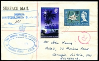 Lot 4629 [1 of 2]:Emu Harbour: blue double-oval 'EMU HARBOUR POSTAL AGENCY/1970/RANONGGA ISLAND B.S.I.P.' & 'R' on face of cover to Australia, stamps cancelled (30JAN1970) at Munda and Munda regn handstamp also applied to face.
