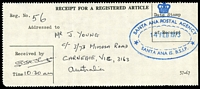 Lot 4162:Santa Ana: double-oval 'SANTA ANA POSTAL AGENCY/14FEB1973/SANTA ANA IS. B.S.I.P.' on regn receipt.