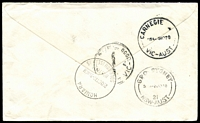 Lot 4634 [2 of 2]:Savo: double-oval 'SAVO POSTAL AGENCY/28OCT1970/SAVO ISLAND B.S.I.P.' on face of registered cover to Australia, stamps cancelled at Honiara, Honiara regn handstamp on face.